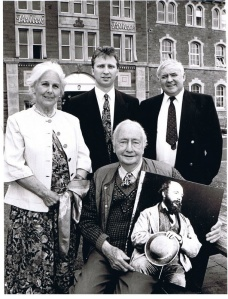Lady Coralie Kinehan, John Maguire, Belleek Pottery Manager, John Cunningham, author and sitting Sir Tobin Kinahan.